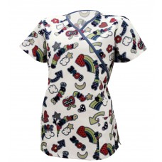 Medline Scrub Tops Women's Print 100% Cotton