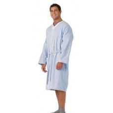 Traditional Patient Robes by Medline PLISSE, BLUE / WHITE, LARGE MDTHR3R04PLS