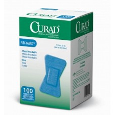 "CURAD Food Service Adhesive Bandages 1""X3"",BLUE, METAL DET, Case of 24"