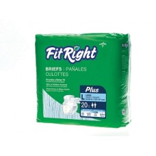 """FitRight Plus Diaper Briefs by Medline, CLOTHLIKE, FITPLUS, MD, 32-42""""  (80 Diapers per case)"""